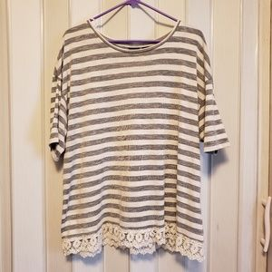Striped Plus Size Top With Lace Detail
